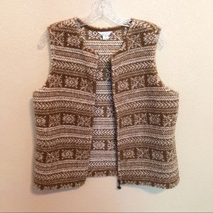 CHRISTOPHER & BANKS Brown Tan Sherpa Style Vest